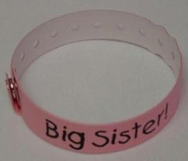 Big Sister bracelet like mommy and daddy will have :) omg no way!! How cute is that?!?