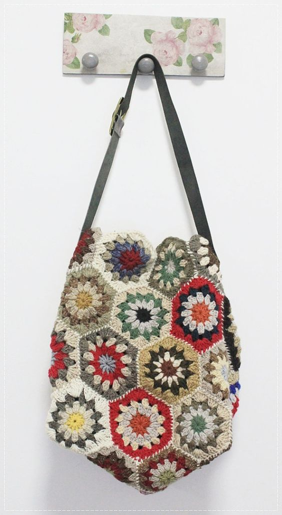 ... multicolor and more hexagons shoulder bags crochet etsy bags colors