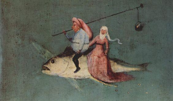 Detalle del Tríptico de las Tentaciones de san Antonio (hacia 1501) de El Bosco en el que aparece una imagen satírica de una pareja que se traslada por los aires al Sabbat montada en un pez volador. Él, delante, porta colgado de una pértiga el caldero de las cocciones mágicas; ella, detrás, con una falda de cola larga.