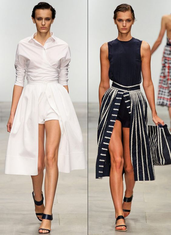 Love this new trend - skirts over shorts!