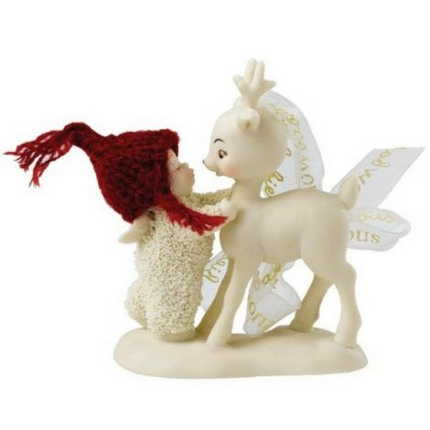 She Kissed a Reindeer www.teeliesfairygarden.com Some snow babies are naturally sweet and friendly. This one can't resist but to kiss her reindeer as a sign of gratitude! #fairysnowbaby