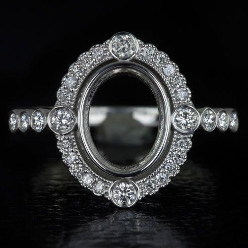 9X7mm Vintage Antique Oval Halo Setting 14K White Gold Milgrain Diamond Bezel