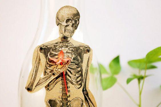 Skeleton - Articulated Paper Doll based on the vintage anatomic illustration. Kraft paper, hand painted