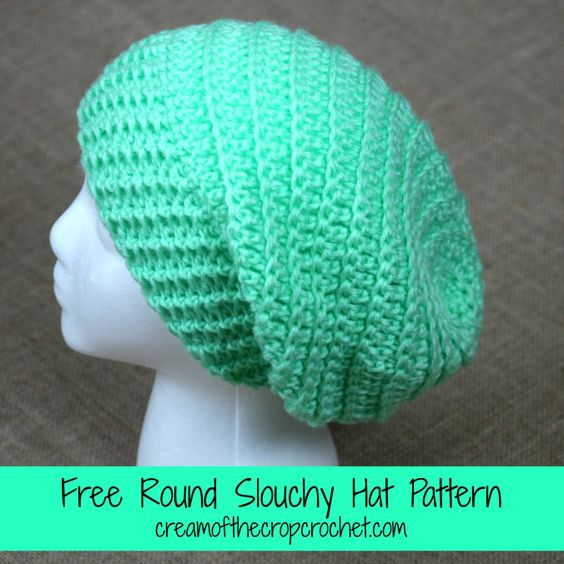 Knitting On The Round Hat : Cream of the crop crochet round slouchy hat free