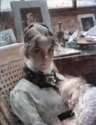 Карл Ларссон. Карин и дочь Сюзанна в Париже