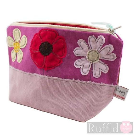 Make-up Bag in Pink and Purple with Flower design (Large size) by Poppy Treffry
