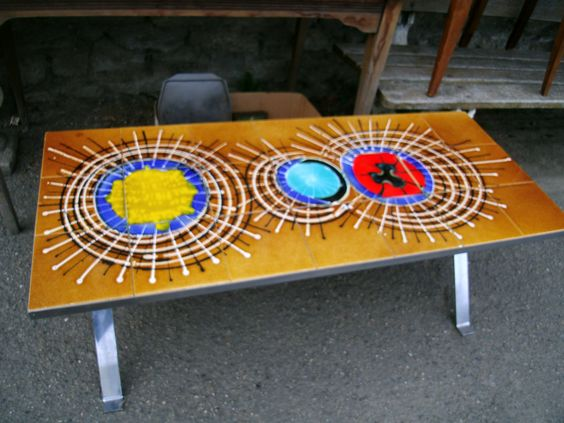 Original 1970s Vintage French Retro Coffee Table,hand painted tiles,Fab Retro interior furniture.