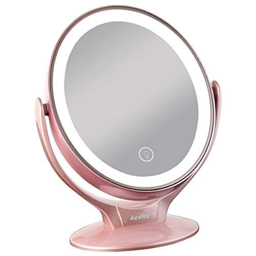 Aesfee Led Lighted Makeup Vanity Mirror Rechargeable 1x 7x Magnification Double Sided Magnifying Mirror With D Magnifying Mirror Makeup Vanity Mirror Mirror