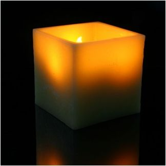 Extra Large 6.5inch Square Pillar Real Wax LED Candle