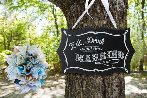 Eat, Drink and Be Married Chalkboard Sign Set up your bar area near tree sign