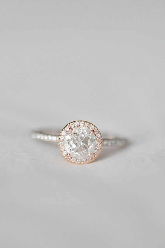Rose and White Gold Ring- best ring I have seen yet!!! Love the rose gold look with the white gold!!! Just square vs round.