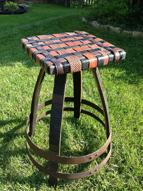 Bourbon Barrel Stave Bar Stool with BeltArt Leather Seat  : 7929cd64654c7cd23061a9d1a90d899c from www.pinterest.com size 564 x 752 jpeg 149kB