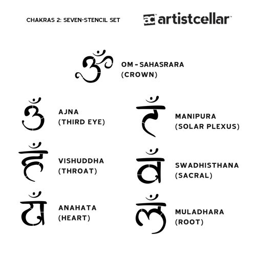 Enlightened designs representing the Sanskrit names of the seven chakras including a beautiful unique Sanskrit Om to bring balance and harmony to your artwork.