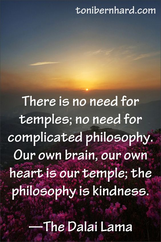 """""""There is no need for temples; no need for complicated philosophy.  Our own brain, our own heart is our temple; the philosophy is kindness."""" ~The Dalai Lama"""