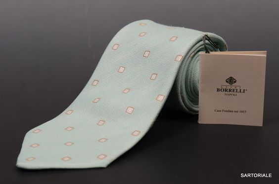 LUIGI BORRELLI NAPOLI Hand Made Light Blue Silk Tie NEW