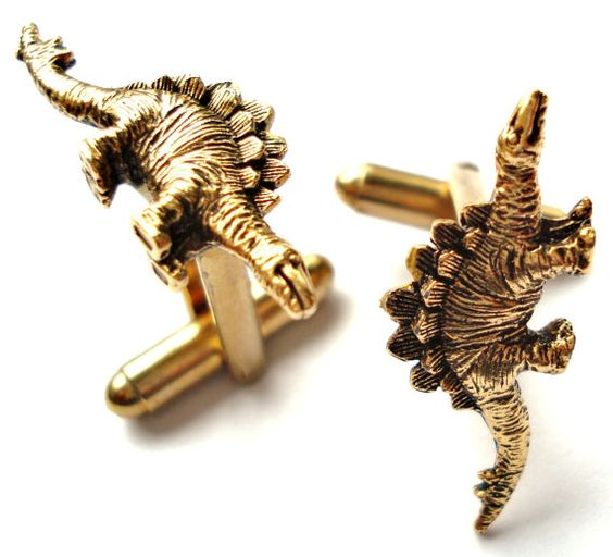 Stegosaurus Cufflinks Set Gift Box Included by Mancornas on Etsy, $29.75
