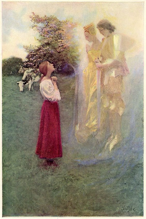 """Howard Pyle's """"She believed that she had daily speech with angels"""" from """"Saint Joan of Arc"""" by Mark Twain"""
