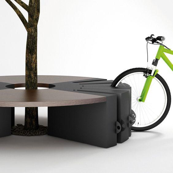 Ideia inteligente de paraciclo, banco e protetor de árvores. Round-b | LAB23 - Street Furniture