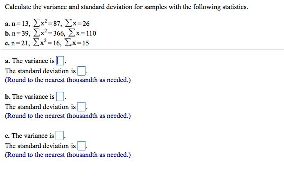 Calculate The Variance And Standard Deviation For Chegg - sample variance