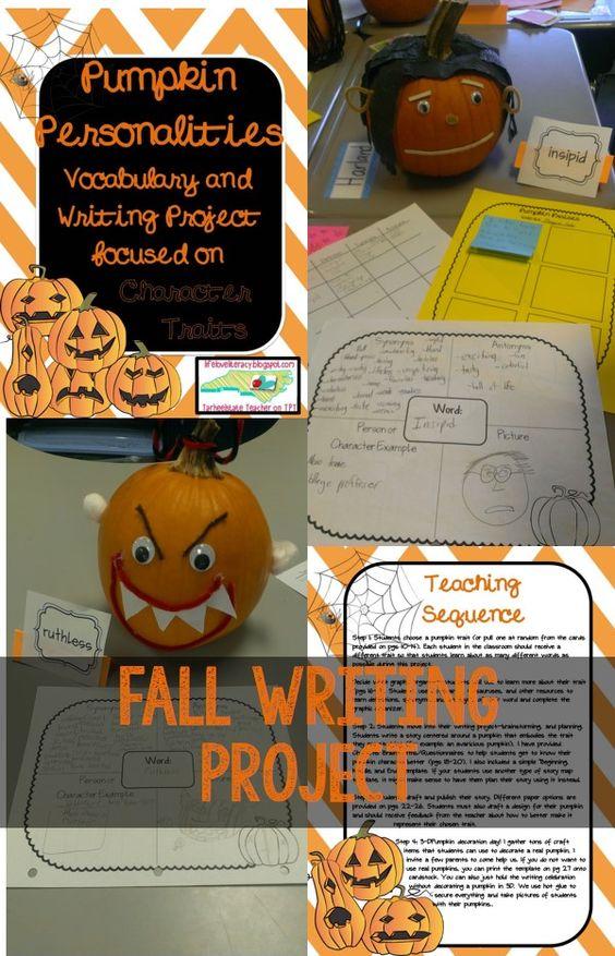 Put your students love of pumpkins to work with this PUMPKIN PERSONALITIES vocabulary and writing project! Students will engage in vocabulary learning through synonym/antonym/Frayer Model and other graphic organizer work. After students study a trait, they write a creative story about their pumpkin who has that trait. Want to take it to the next level? Have students decorate a real pumpkin (or cardstock pumpkin, included) to represent their pumpkin character in 3D.: