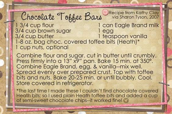 Chocolate Toffee Bars...more sweet treats:)  Recipe card made digitally with Photoshop Elements.
