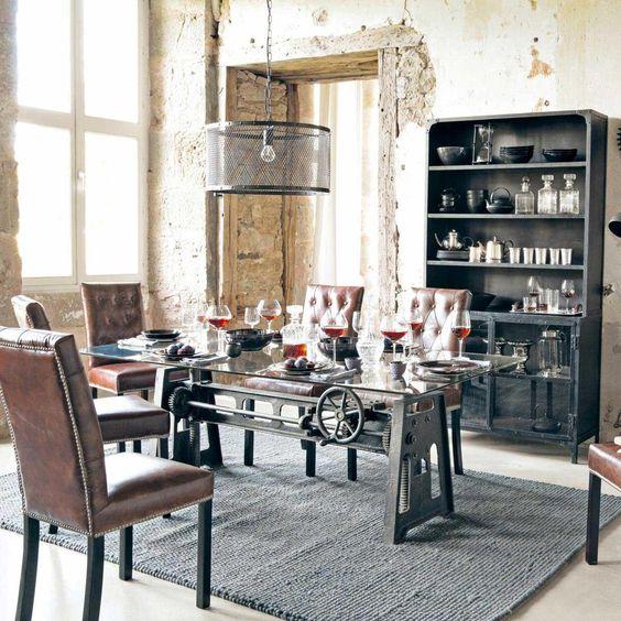 Bahut indus noir gaston maisons du monde mdm for Table salle a manger industrielle