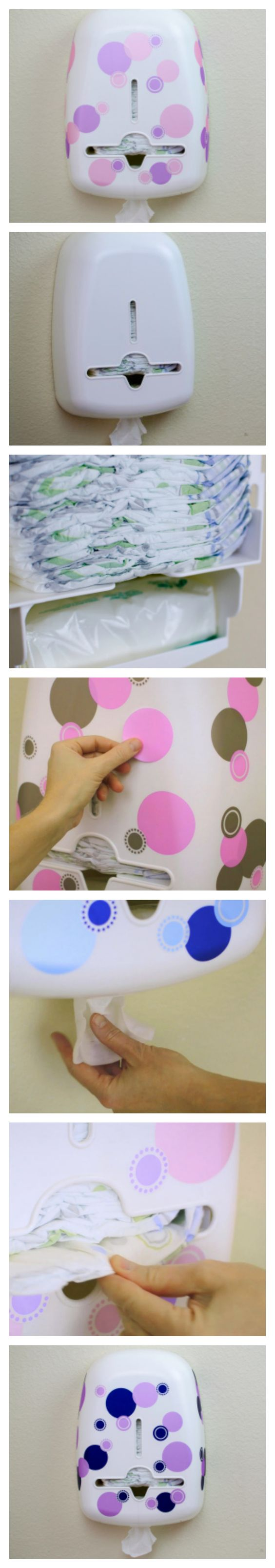 Create your own DIY Bobee diaper and wipe dispenser for your nursery. Choose colorful decals to match your baby's room from soft pink and gray to navy and lavender. Organize your changing table area.