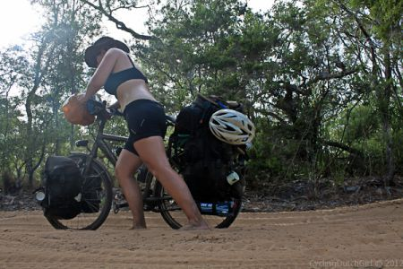 OTT trail in Australia.  Pushing through sand.