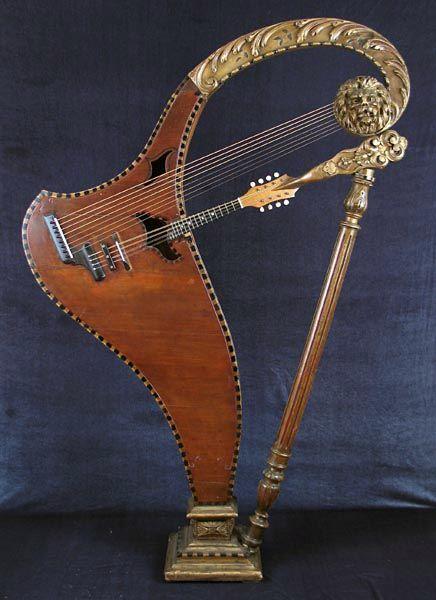 Cesare Candi of Genoa 12-course (8 sub-basses) harp mandolin: