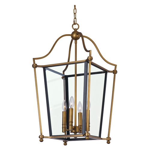 Ritz Natural Aged Brass Four Light Pendant with Clear Glass:
