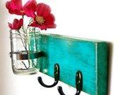 turquoise key hook wall key hanger mason jar vase cottage style handmade. I could probably make this myself