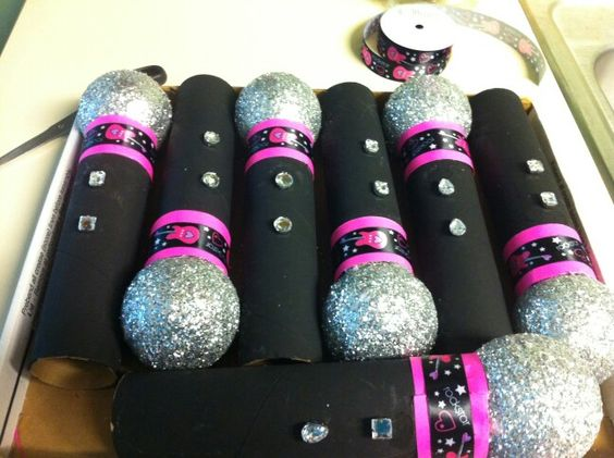 DIY microphones I recreated using paper towel rolls foam balls and glitter