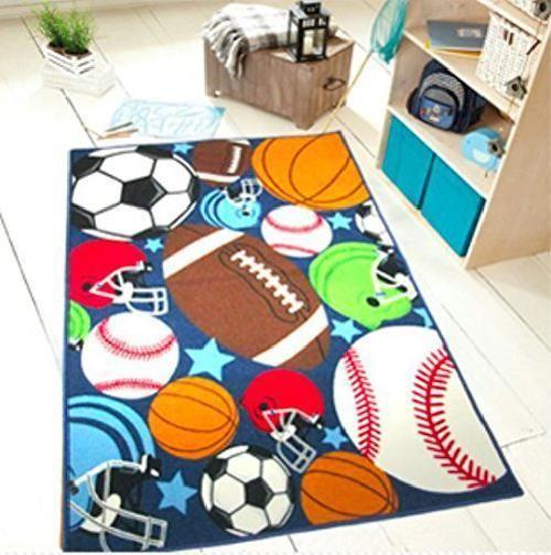 Sports Ball Rug Durable Teens Kids Boys Bedroom Area Rug No Slip