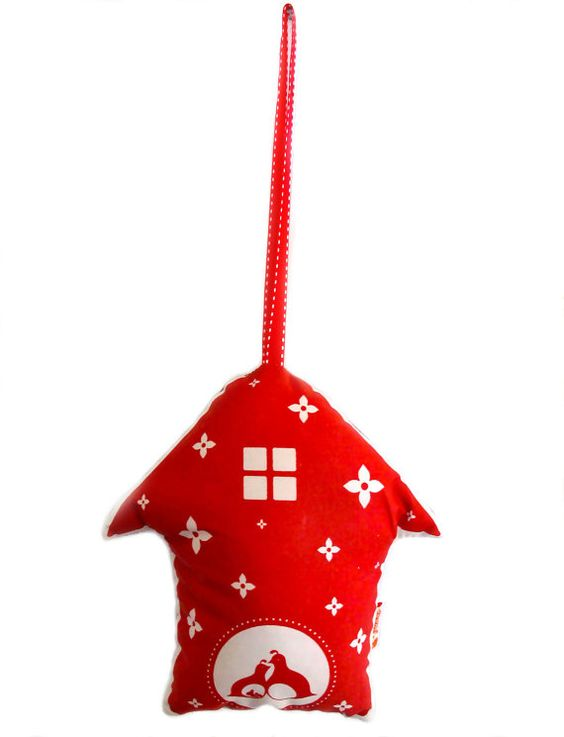 Red Print Partridge Birdhouse HOLIDAY ORNAMENT by joom on Etsy