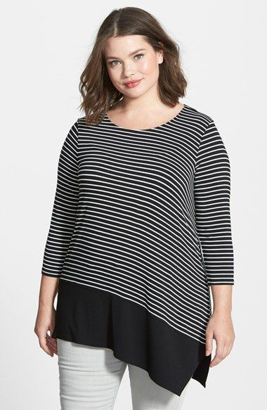 Vince Camuto Contrast Hem Stripe Asymmetrical Top (Plus Size) available at #Nordstrom: