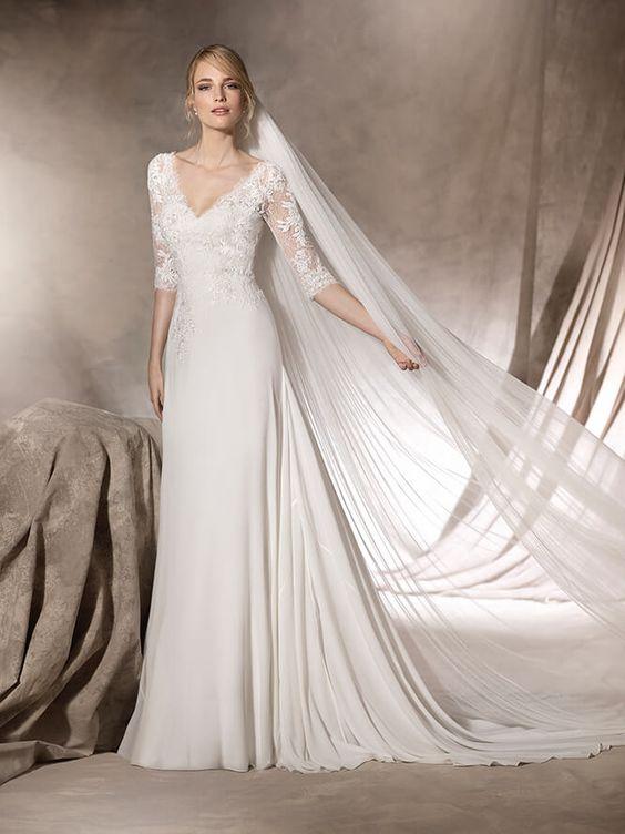 vestido de novia escote en pico halima