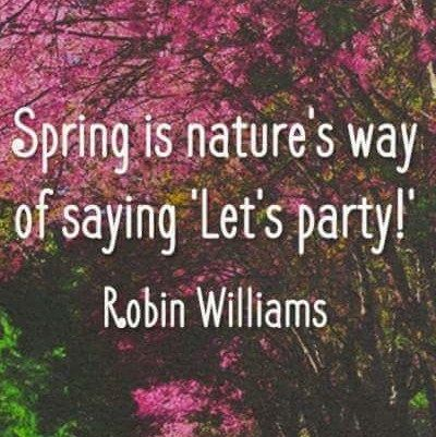 Spring is nature's way of saying ''Let's party!'. - Robin Williams