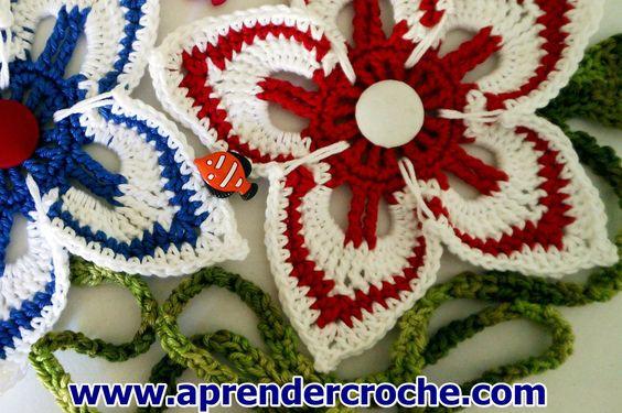 FLORES EM CROCHE 096 FLORES MODELO NAVY