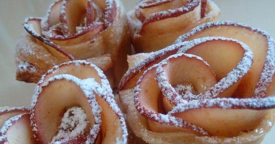 Rosas de hojaldre y manzana, paso a paso