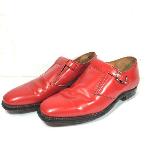 Red Johnston & Murphy Aristocraft Golf Shoes Pimp Size 10 Laceless Strap Buckle #JohnstonMurphy #GolfShoes
