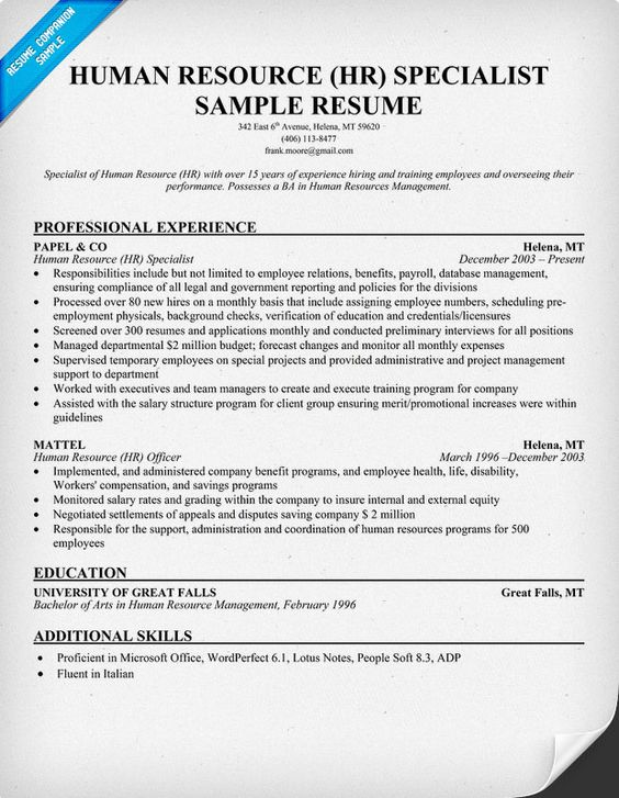 free human resource hr specialist resume resume samples across all industries pinterest job info perfect resume and sample resume - Human Resource Specialist Sample Resume