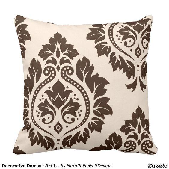 Decorative Damask Art I (2Way) Cream & Brown Throw Pillow