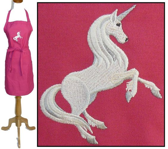 Unicorn Monogram Apron 4 Sizes, 12 Colors Magical Majestic Horse Embroidery Nwt