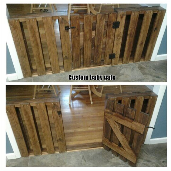 13 Diy Dog Gate Ideas: Custom Baby Gate Made From Pallet Wood.