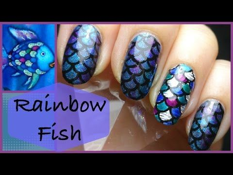 So complicated but so pretty ~ Rainbow Fish with nail foil にじいろのさかな Stamping Nail スタンピングネイル - YouTube
