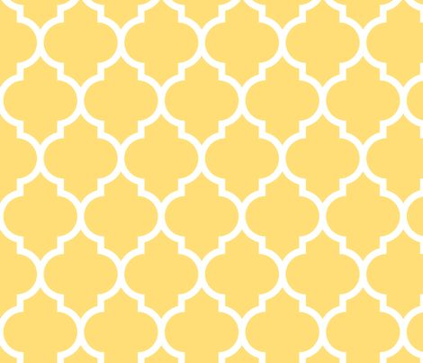 Moroccan quatrefoil lattice in lemon yellow fabric by for Moroccan wallpaper uk