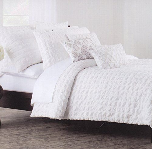 Nicole Miller Home 3pc Full Queen Squares Seerer Texture Duvet Cover And Shams Set Nautical Modern Solid White Ruched Textured Htt