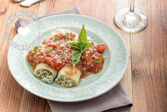 Receta Canelones Rellenos con Ricotta y Espinaca: Delicioso plato que es mucho más fácil de hacer de lo que parece y encantará a todos.