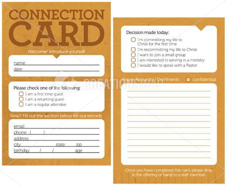 Connection Cards Could be at the desk as well in the pews for - guest check template