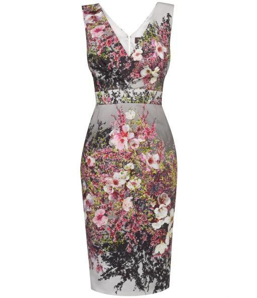 Phase Eight Blossom print pleat dress, Multi-Bright